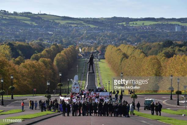 Members of pro choice group Alliance for Choice and Pro Life groups hold demonstrations outside Stormont on October 21 2019 in Belfast Northern...