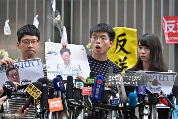 Members of prodemocracy party Demosisto Nathan Law Joshua Wong and Agnes Chow speak to the media after Chief Executive Carrie Lam held a press...