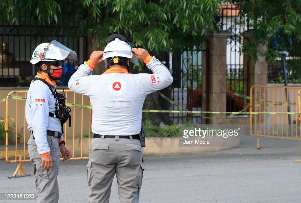 Members of Protección Civil stand out the Luis Elizondo nursing home on May 7 2020 in Monterrey Mexico Authorities of a nursing home in Guadalupe...