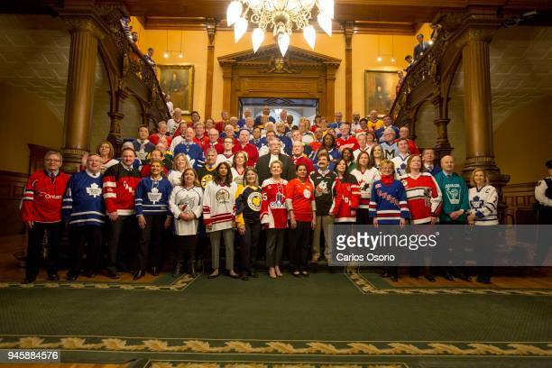 Members of Provincial Parliament all wearing jerseys to remember the Humboldt Broncos Thousands of Canadians have pledged online to take part in the...