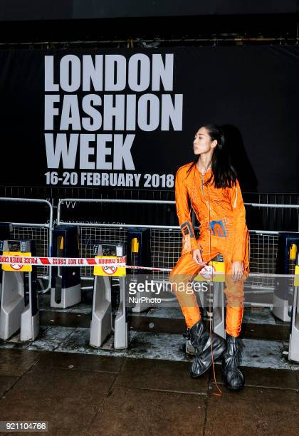 Members of public are coming to the shows of London Fashion Week and are presenting newest street fashion in London on the February 19 2018