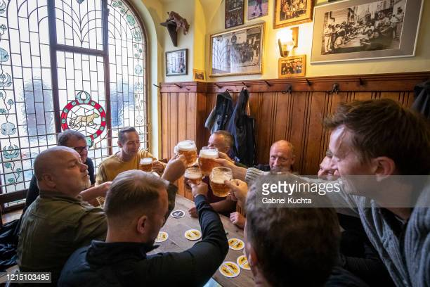 Members of public gather at a reopened restaurant called Golden Tyger on May 25 2020 in Prague Czech Republic The bars restaurants and cafes are...