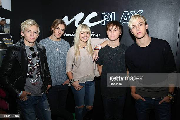 Members of R5 Riker Lynch Rocky Lynch Ross Lynch Rydel Lynch and Ellington Lee Ratliff stop by Music Choice Play for 'You A' on October 29 2013 in...