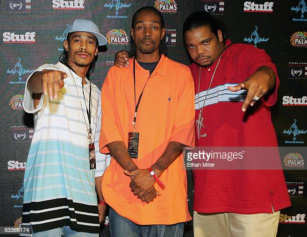 Members of rap group Bone ThugsNHarmony Layzie Bone Krayzie Bone and Wish Bone arrive at Stuff Magazine's fourth annual Stuff Casino Weekend at the...