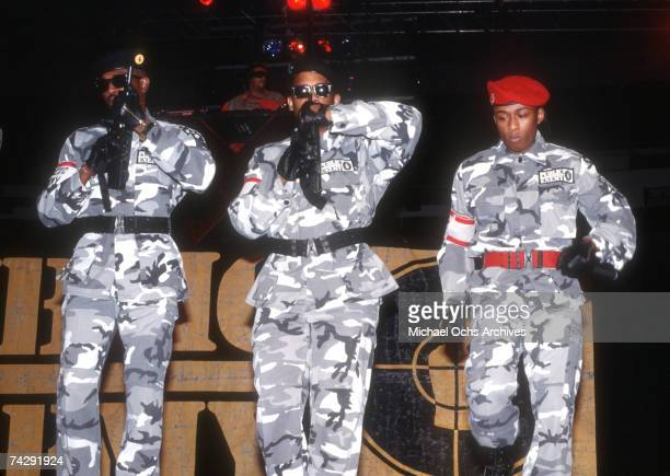 Members of rap group 'Public Enemy' S1W and Professor Griff perform onstage in August 1988