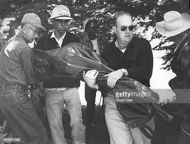 JUL 19 1960 JUL 20 1960 Members of Recovery team left Body off Mule at Campground Body of Raymond far left Alfred Thurston special deputy sheriff...