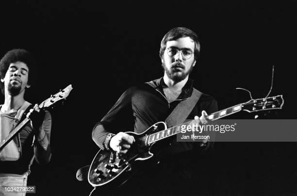 Members of Return to Forever American jazz bassist Stanley Clarke and American jazz guitarist Al Di Meola at Jazzhus Montmartre, Copenhagen, Denmark,...