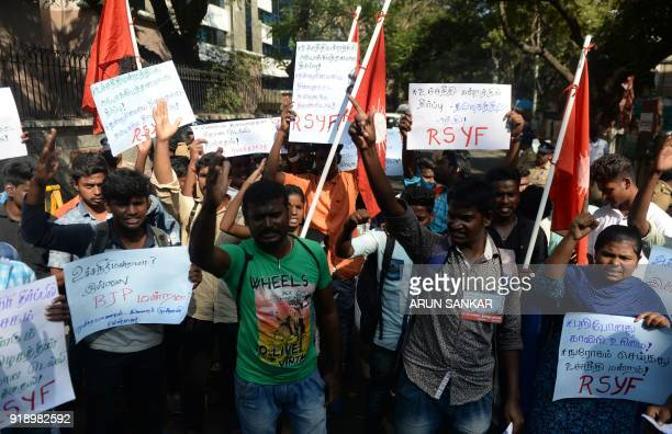 members of Revolutinary students youth fedaration shout slongs as they protest against the supreme court verdict on Cauvery water dispute in Chennai...