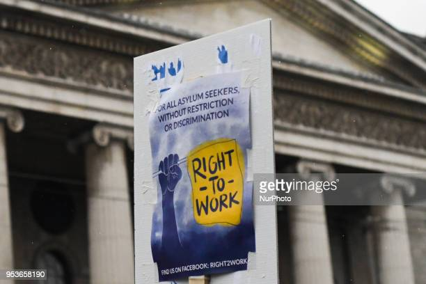 Members of RightToWork during an annual May Day march for workers' rights On Tuesday May 1 in Dublin Ireland