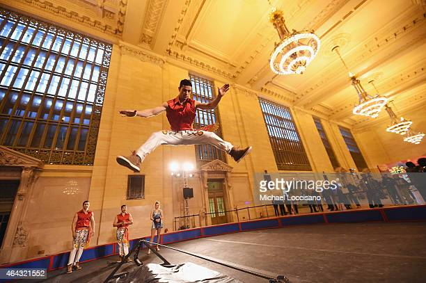 Members of Ringling Bros. And Barnum & Bailey Danguir Troupe perform during Circus XTREME at Vanderbilt Hall at Grand Central Terminal on February...