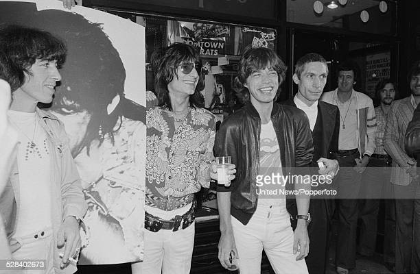 Members of rock and roll group The Rolling Stones pictured together outside the entrance to The Marquee Club in London on 14th September 1977 From...