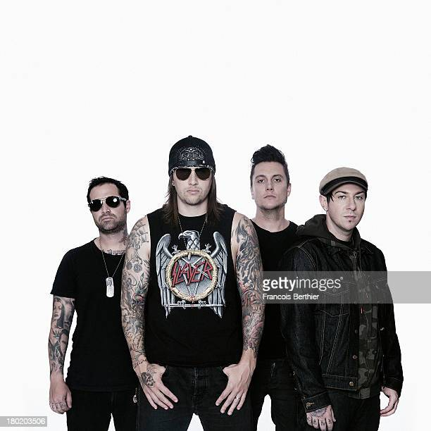Members of rock band Avenged Sevenfold Synyster Gates M Shadows Zacky Vengeance and Johnny Christ are photographed for Myrock on August 29 2013 in...