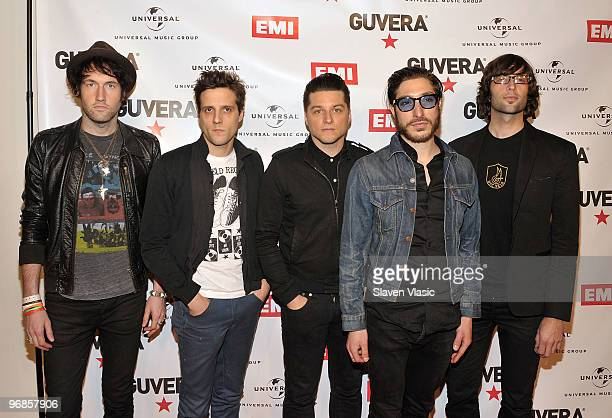 Members of rock band The Bravery Sam Endicott Anthony Burulchich Michael Hindert Michael Zakarin and John Conway attend the Guvera PreLaunch Party at...