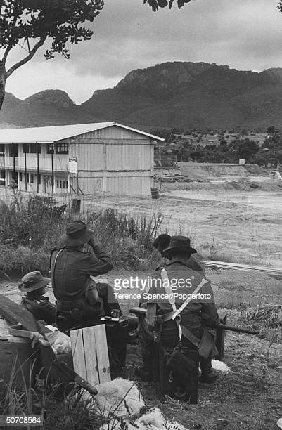 Members of royal Rhodesian regiment on way to Kariba Dam project to guard installation during strike by African workers.