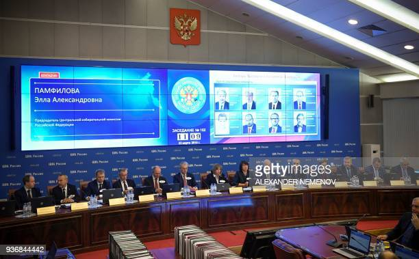 Members of Russia's Central Election Commission hold a session to announce the final results of March 18 presidential election in Moscow on March 23...