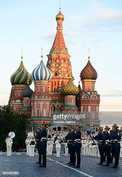 Members of Russia's Guard of Honor of the Kremlin Regiment perform during the Spasskaya Tower international military music festival in Moscow's Red...