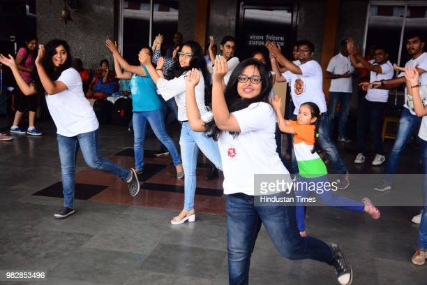 Members of Saare Jahaan Se Achcha perform a play to spread awareness on 'No Spitting' at Pune Railway Station on June 23 2018 in Pune India
