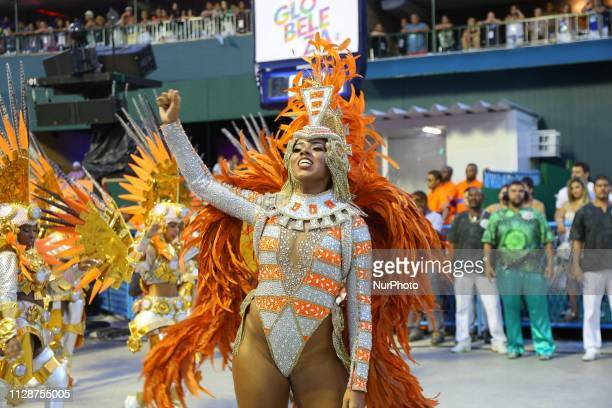 Members of Samba School Independente of Padre Miguel perform during the parade at 2019 Brazilian Carnival at Sapucai Sambadrome on March 04 2019 in...