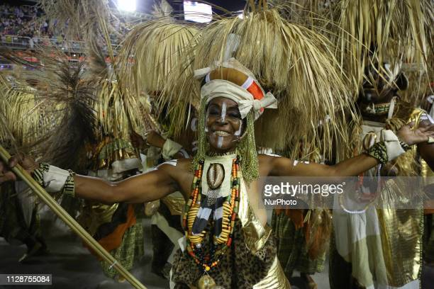 Members of Samba School Mangueira perform during the parade at 2019 Brazilian Carnival at Sapucai Sambadrome on March 04 2019 in Rio de Janeiro Brazil