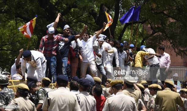 Members of Samta Sainik Dal and Bhim Army during a protest against the UP government over the arrest of Chandrashekha Founder of Bhim Army at...