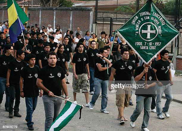 Members of Santa Cruz's Youth Union parade during the funeral of Edson Ruiz Aguayo in La Guardia Bolivia on September 18 2008 Ruiz member of the...