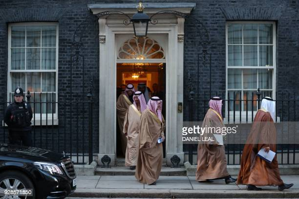 TOPSHOT Members of Saudi Arabia's Crown Prince Mohammed bin Salman's delegation leave 10 Downing Street in central London on March 7 2018 British...