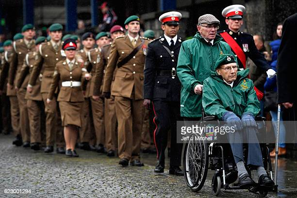 Members of Scotland's armed forces and veterans gather to commemorate and pay respect to the sacrifice of service men and women who fought in the two...