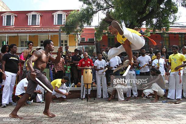 Members of Senzala Capoeira perform on Independence Square at the annual Emancipation Day heritage festival on August 1, 2014 in Port of Spain,...