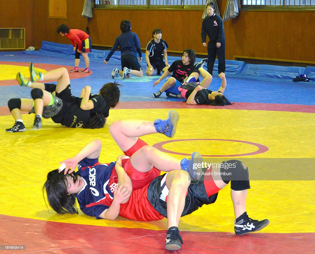 Members of Shigakkan University Women's Wrestling team in action during a training session on February 13, 2013 in Obu, Aichi, Japan. International Olympic Committee's decision to drop wrestling from 2020 Summer Olympic stuns Japan, as Japan won six medals in Wrestling including four gold at London Olympic.