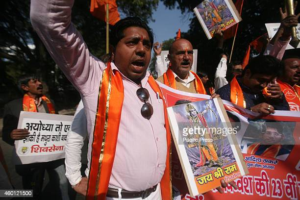 Members of Shiv Sena during a demonstration on the occasion of the 22nd anniversary of Babri Masjid demolition in New Delhi Babri Mosque situated in...
