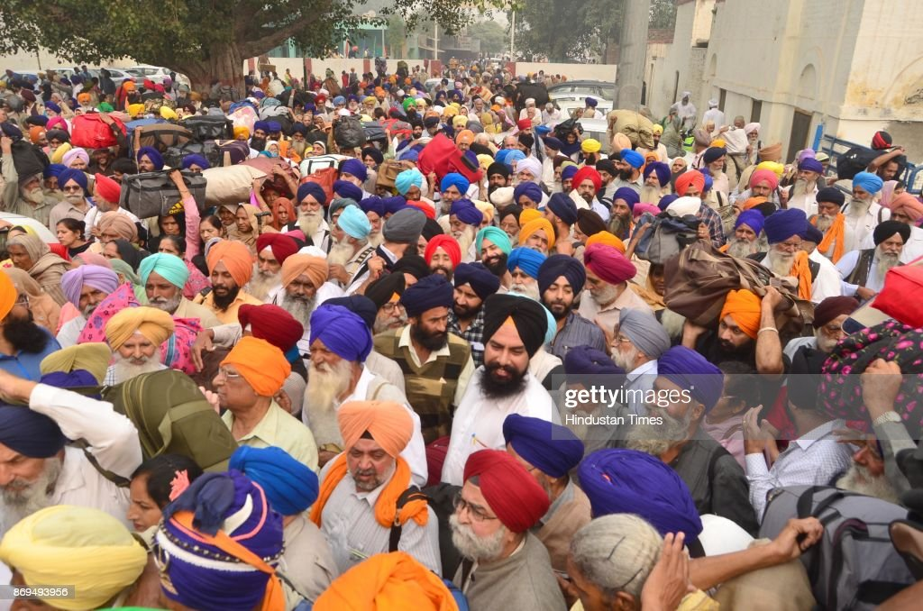 Members of Sikh Jatha reached at Attari Railway Station before leaving for Pakistan to celebrate birth anniversary of Guru Nanak Dev Ji from Attari...