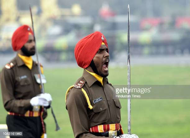 Members of Sikh regiment of the Indian Army during the Army Day Parade at Cariappa Parade Ground on January 15 2019 in New Delhi India The Army Day...