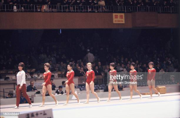 Members of Silver Medalists Czechoslovakia attend the Women's Artistic Gymnastics Team medal ceremony during the Tokyo Olympics at Tokyo Metropolitan...