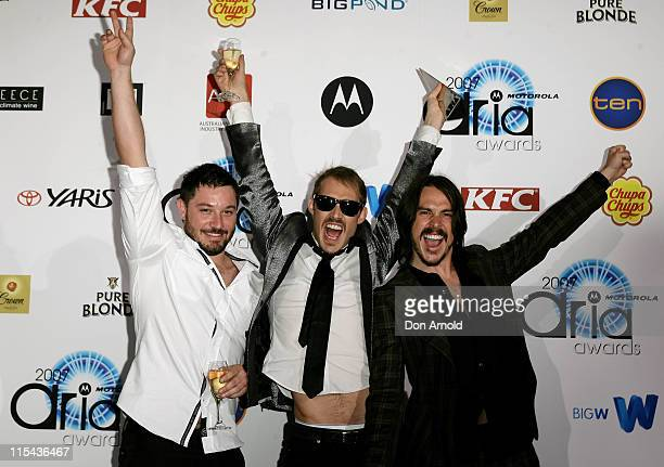 Members of Silverchair Chris Joannou, Daniel Johns and Ben Gillies pose with their awards at the 2007 ARIA Awards at Acer Arena on October 28, 2007...
