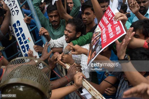Members of SIO organisation protesting against the Rohingya Muslim genocide in front of Myanmar Bhavan in Kolkata India on September 2017 People of...