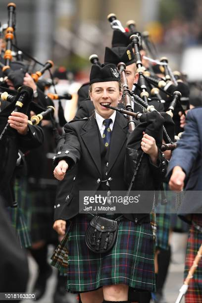 Members of Skye pipe band take part in the World Pipe Band Championships on August 17 2018 in Glasgow Scotland Two Hundred and fourteen pipe bands...
