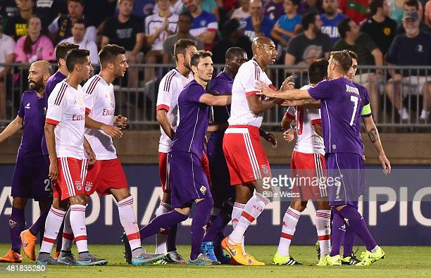 Members of SL Benfica and ACF Fiorentina argue during the first half of an International Champions Cup 2015 match at Rentschler Field on July 24 2015...
