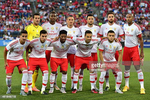 Members of SL Benfica pose for a photograph before an International Champions Cup 2015 match against ACF Fiorentina at Rentschler Field on July 24...