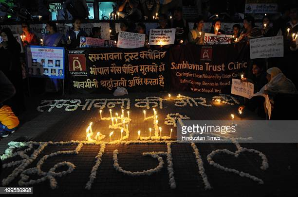 Members of Smbhavna trust clinic paying tributes on the eve of 31st anniversary of Bhopal Gas tragedy on December 2, 2015 in Bhopal, India. Over...