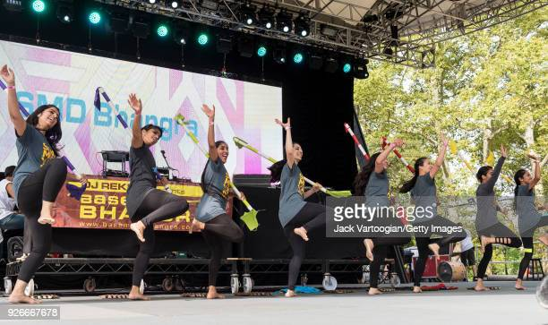 Members of SMD Bhangra Club perform at Central Park SummerStage during the Basement Bhangra 20th Anniversary celebration New York New York August 6...