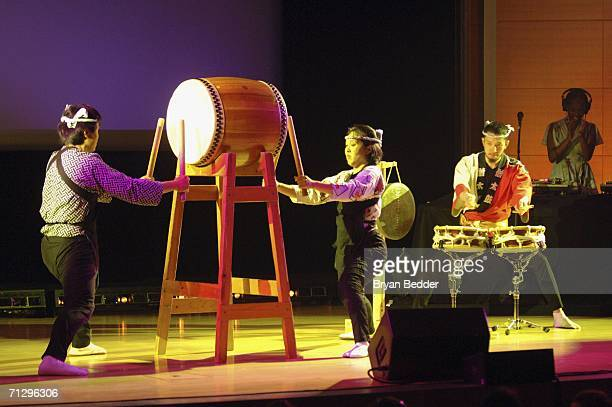 """Members of Soh Daiko perform onstage during V-DAY's """"Its Hard Out Here For a Girl"""" event, part of """"UNTIL THE VIOLENCE STOPS: NYC Festival"""", at the..."""