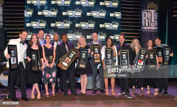 Members of Sony/ATV Publishing pose with awards at the ASCAP 2017 Rhythm Soul Music Awards at the Beverly Wilshire Four Seasons Hotel on June 22 2017...