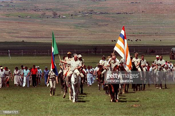 Members of South African selfstyled racist white supremacist Afrikaner Weerstandsbeweging AWB arrive on horseback 10 October 1987 in Johannesburg for...