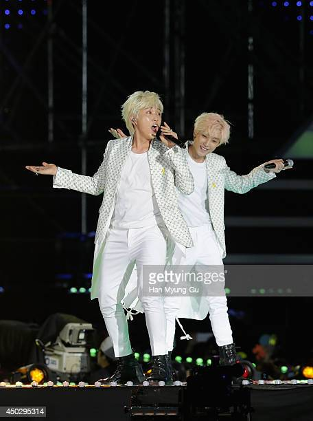 Members of South Korean boy band B1A4 perform on stage during the 20th Dream Concert on June 7 2014 in Seoul South Korea