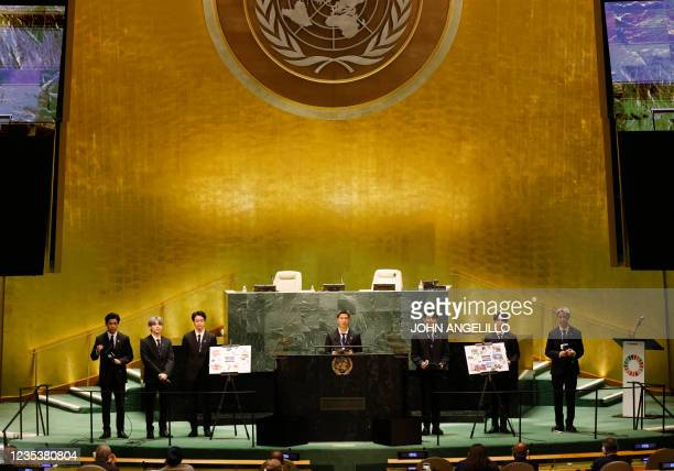 Members of South Korean boy band BTS take turns speaking at the SDG Moment event as part of the UN General Assembly 76th session General Debate at...