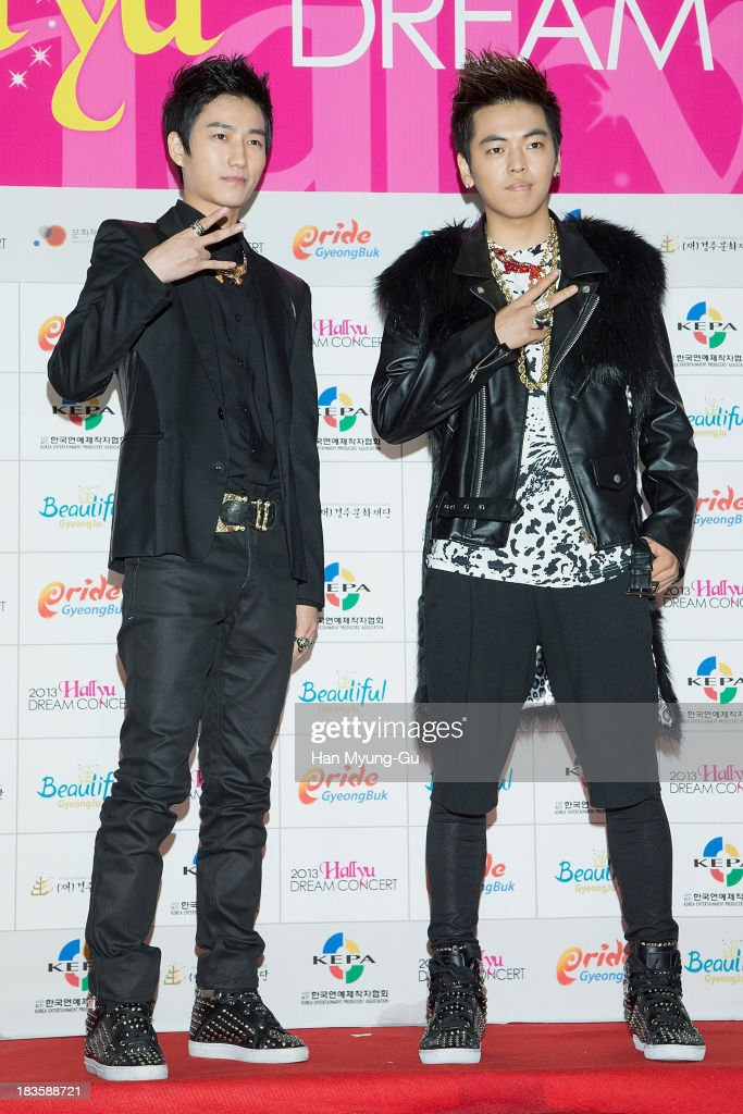 Members of South Korean boy band EgoBomb attend the 2013 Hallyu Dream Concert on October 5, 2013 in Gyeongju, South Korea.