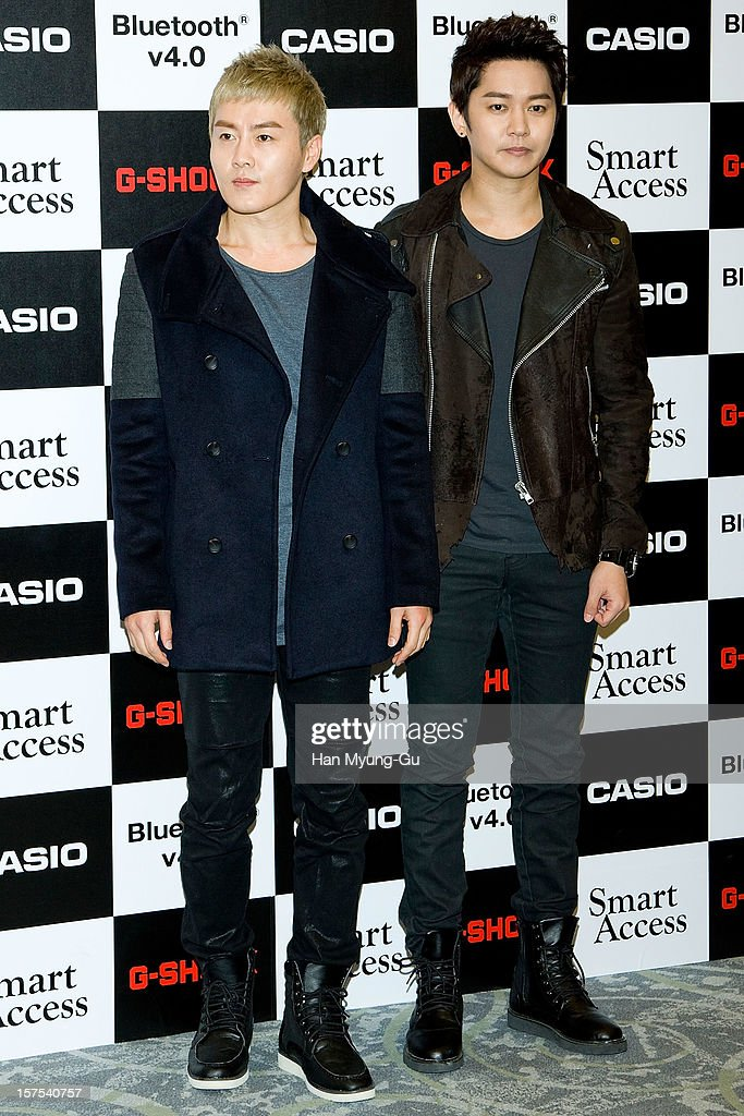 Members of South Korean boy band Noeul attend during the promotional event of 'Evolution of CASIO 2013' at Novotel Ambassador Gangnam on December 4, 2012 in Seoul, South Korea.