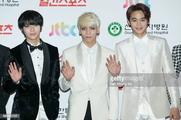 Members of South Korean boy band SHINee attend the 28th Golden Disk Awards at Kyunghee University on January 16 2014 in Seoul South Korea