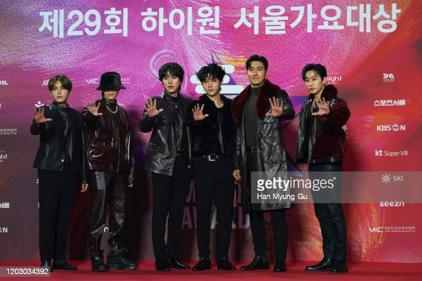 Members of South Korean boy band Super Junior attend the 29th Seoul Music Awards at Gocheok Sky Dome on January 30, 2020 in Seoul, South Korea.