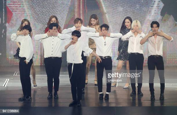 Members of South Korean boy band Super Junior perform on the stage in concert on March 31 2018 in Taipei Taiwan of China